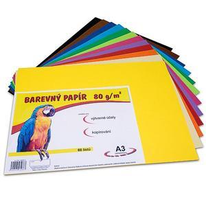 Barevný papír A3/60/80g - mix 12 barev