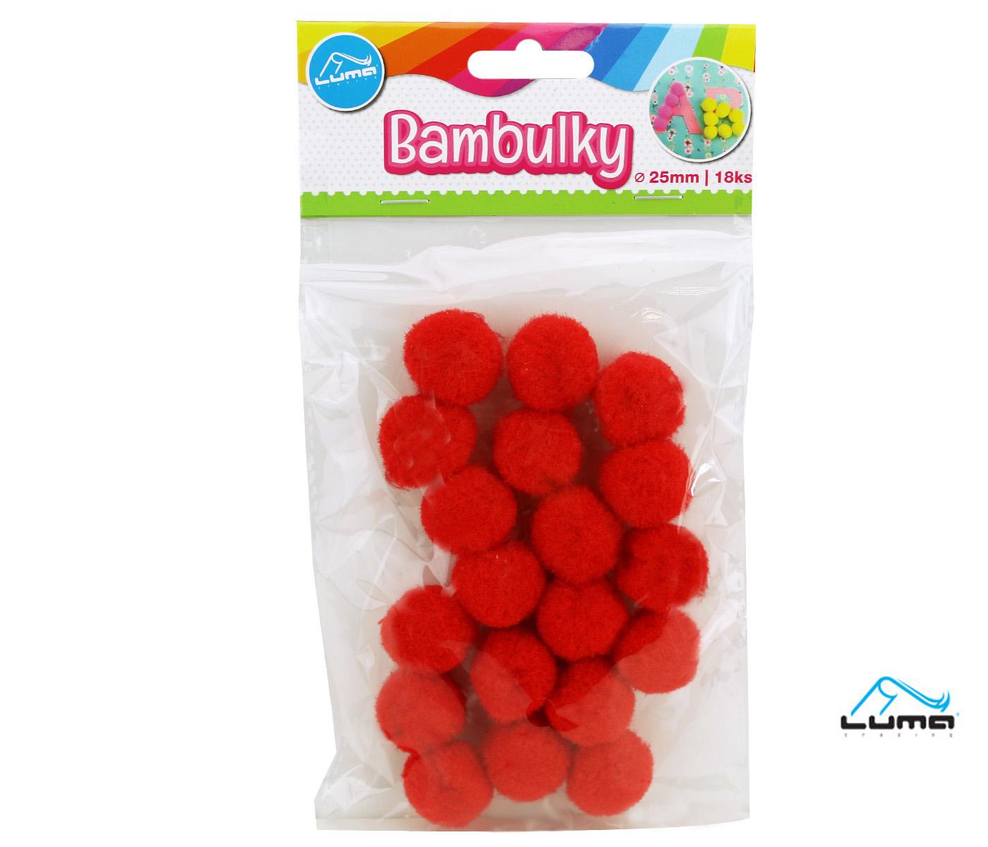 Bambulky 25 mm 18 ks mix barev